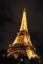 Eiffel, Paris, gold, night