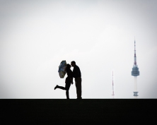 silhouette, couple, umbrella, seoul, korea, asia