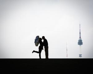 silhouette, couple, umbrella, seoul, korea, asia