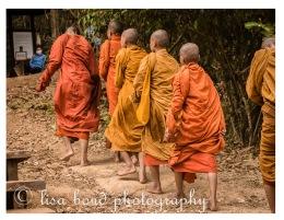 Ankgor, monks, buddhist, mountain, temple, khmer