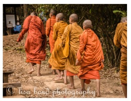 Ankgor, monks, buddhist, mountain, temple, khmer