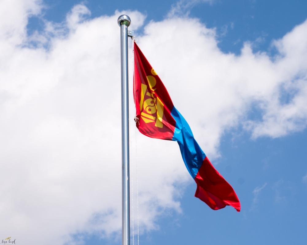 mongolia, flag, blue skies