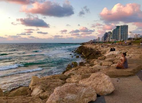 tel aviv, israel, beach, rocks, summer