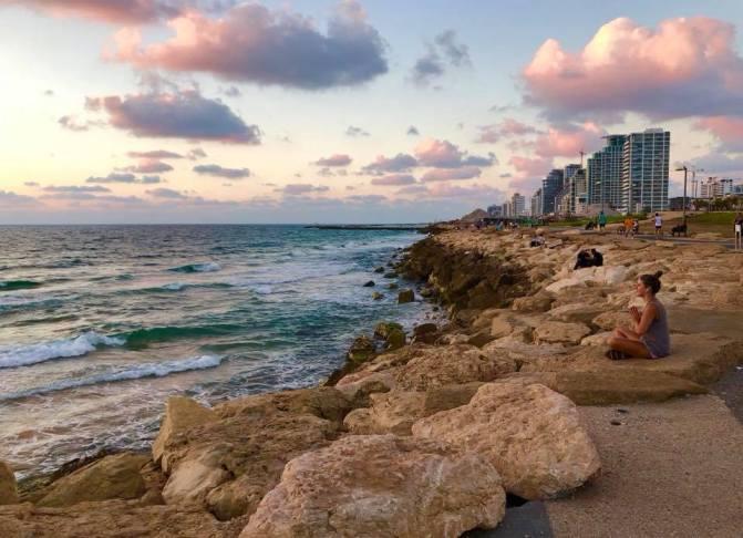 tel aviv, israel, beach, rocks, summer
